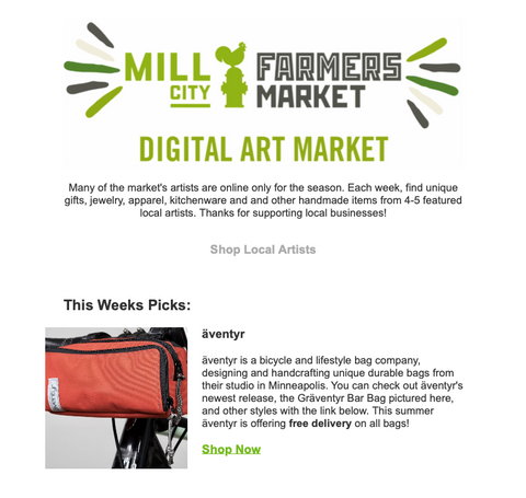 äventyr bicycle bags Gräventyr Bar Bag featured in Mill City Farmers Market Digital Art Market Newsletter August 2020