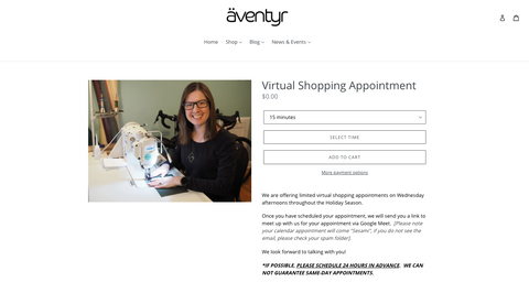 äventyr bicycle bags virtual shopping appointments available
