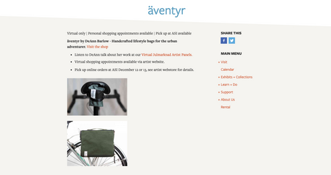 äventyr bicycle bags at the American Swedish Institute Julmarknad 2020