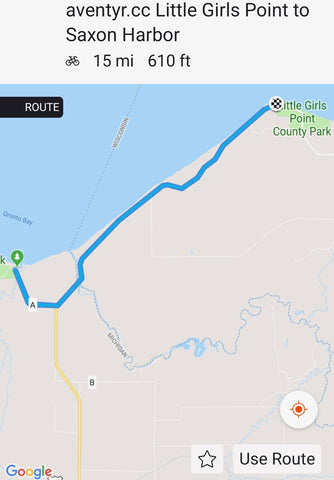 äventyr route:  Little Girls Point to Saxon Harbor, Ironwood, Michigan, U.P.