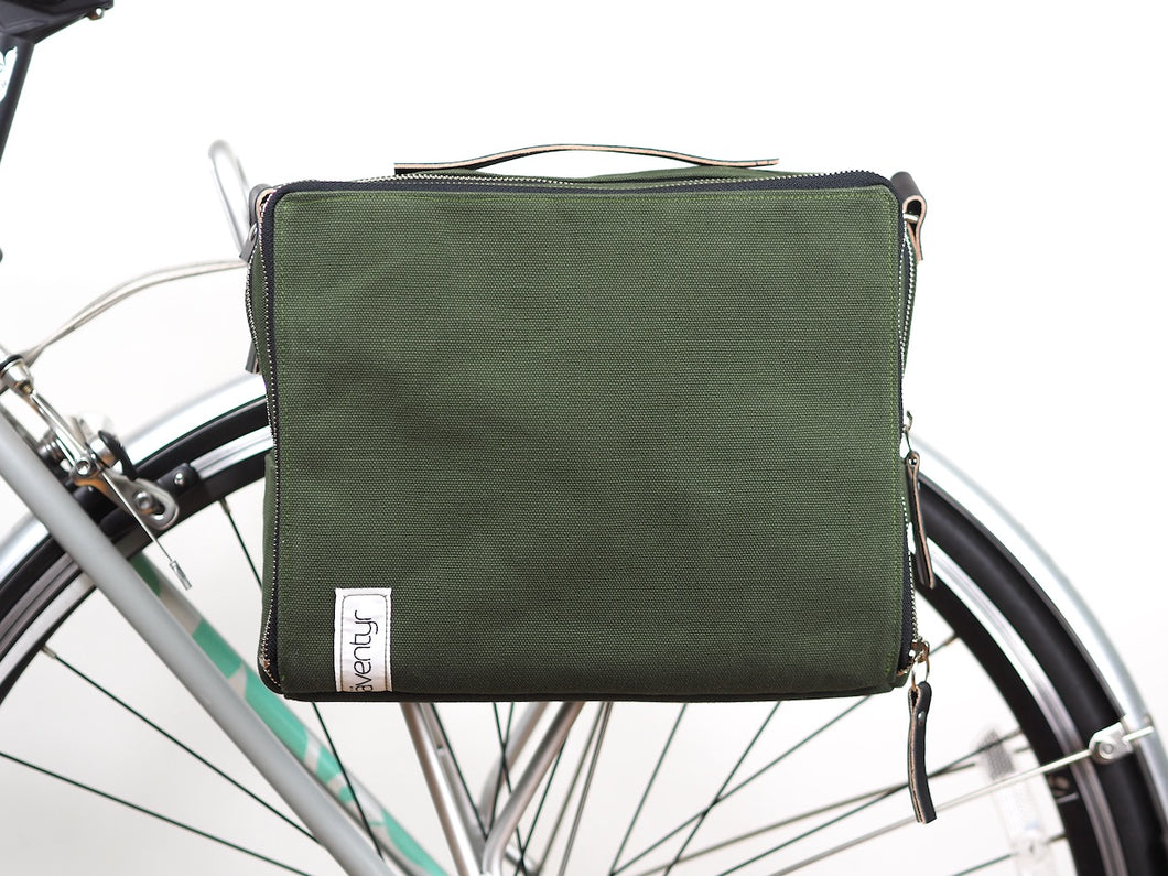 äventyr bicycle bags The Social musette pannier bag in Olive