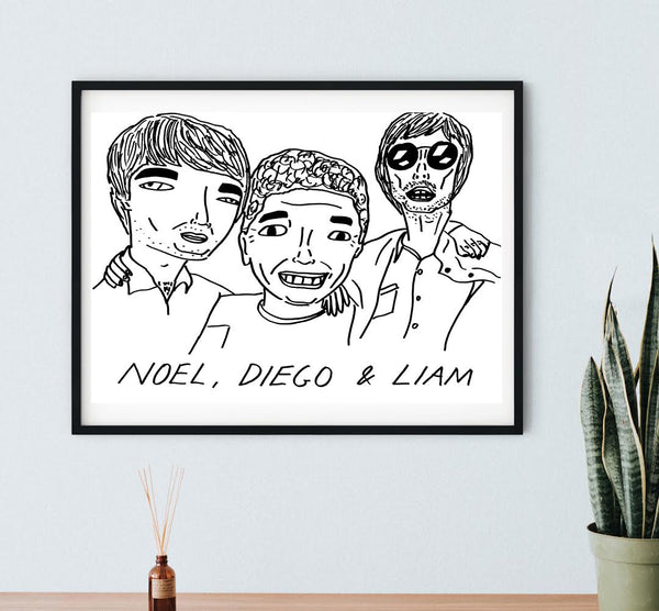 Noel, Diego, Liam Poster - A3 or A4. - FREE SHIPPING
