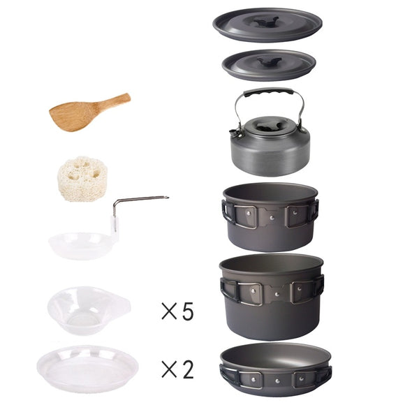 Outdoor 4-5 Person Camping Cookware Camping Hiking Utensil Pots Sets with Water Kettle for Picnic