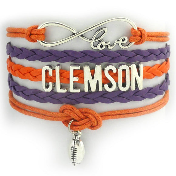 NCAA Clemson Tigers American football Infinity love football Wristlet Sport Charm basketball jewelry gift