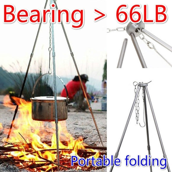 Portable Folding Outdoor Camping Tripod Picnic Cookware Tools Campfire BBQ Grill Survival Gear Camping Stuff Camping Equipment f