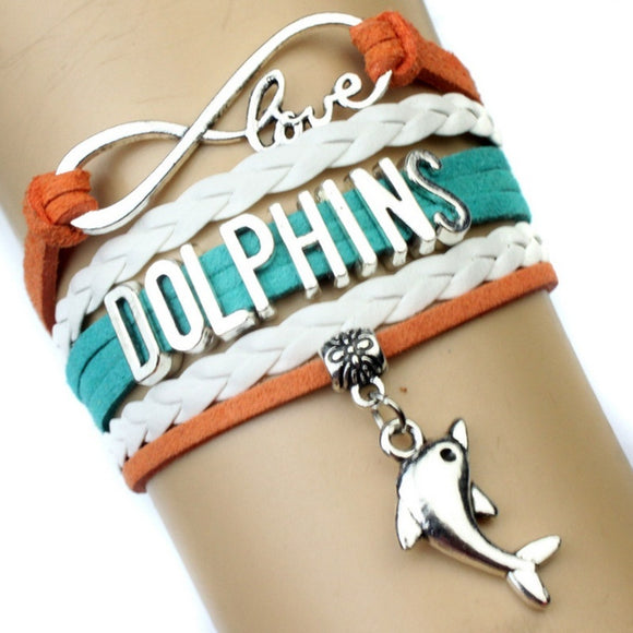 NFL Miami dolphins American football bracelet leather Braided bracelet gift