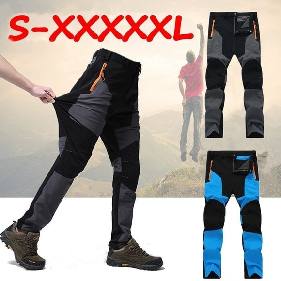 (Order one size up)Men's Outdoor Waterproof Hiking Trousers Mountain Camping Climbing Pants Fishing Trekking Softshell Quick Dry