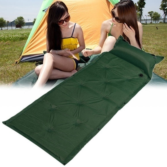 Camping Self Inflatable Air Mattress 1Pcs Mat Pad Pillow Sleeping Bed Camping Hiking Outdoor 183x57x2.5cm