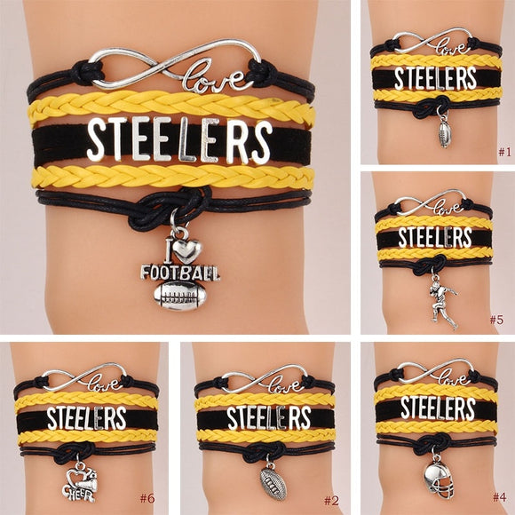 Popular Infinity Love STEELERS American Football Charms Leather Braided Bracelet