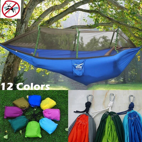 Outdoors Parachute Cloth Travel Camping Survival Hammock with Mosquito Net Portable Lightweight Backpacking Hammock Easy Camping