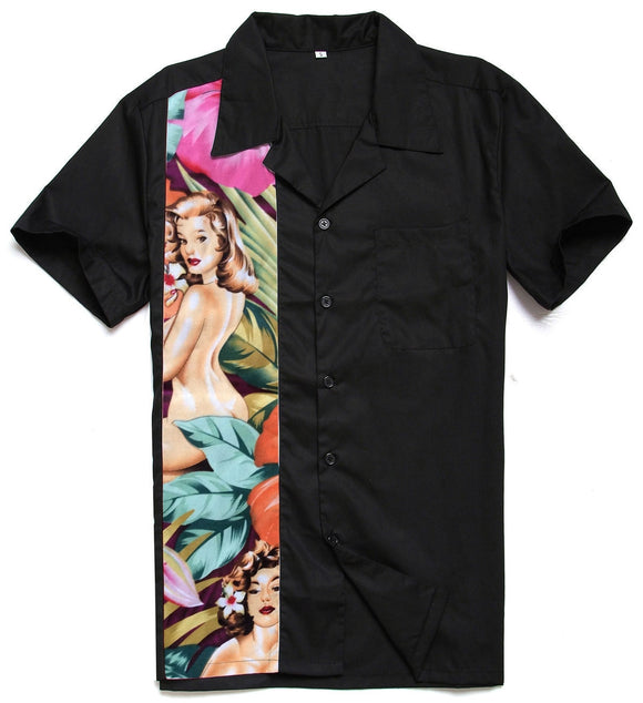 New Men Retro Rockabilly Novelty Bowling Shirts Cotton Top Black Casual Shirts