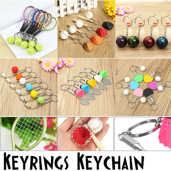 Sport Tennis Ball Racket Baseball Bowling Golf Badminton Table Tennis Tennis Ball Collectable Keyrings Keychain Decorations Chri
