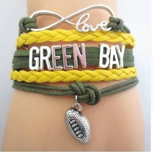 Green Bay Packers Fans Infinity Wristlet NFL American Football Charms Bracelet