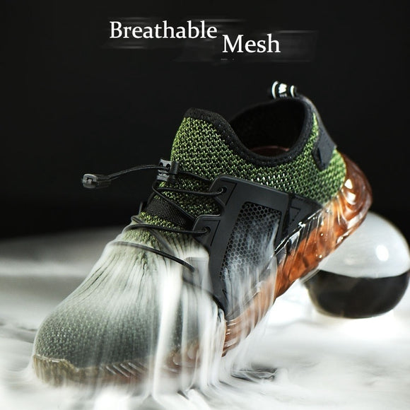 Automatic Shrink Shoelace Men s Hiking Steel Toe Work Safety Shoes Mesh Lace Up Anti-slip Anti-Collision