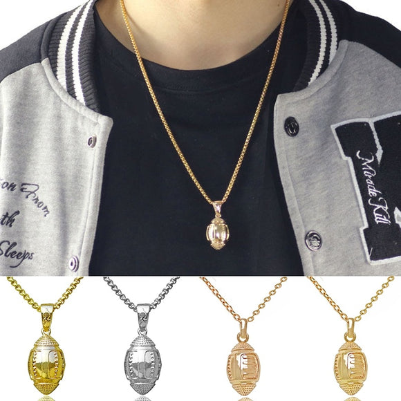 Men and Women Fashion Gold American Football Shape Stainless Steel Necklace Pendant Jewelry
