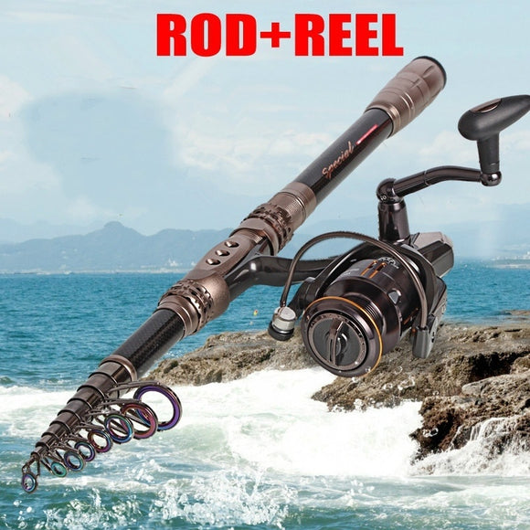 1.8-3.0M Carbon Spinning Telescopic Fishing Rod with 14bb Spinning Fishing Reel Set Fishing Rod Combo