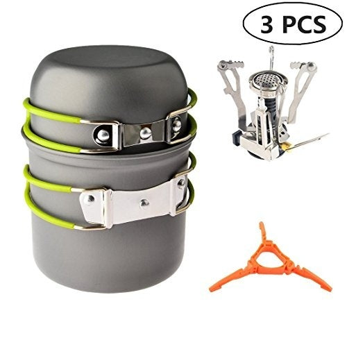 Camp Stove, Petforu Ultralight Portable Outdoor Camping Stove Hiking Backpacking Picnic Cookware Cooking Tool Set Pot Pan & Piez