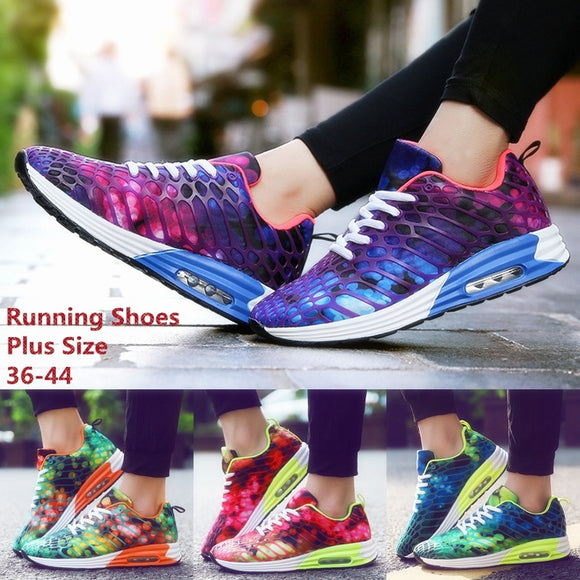 Women Air Cushion Sneakers Camouflage Casual Shoes Summer Mesh Breathable Sport Non-slip Lightweight Basketball Shoes Purple/ora