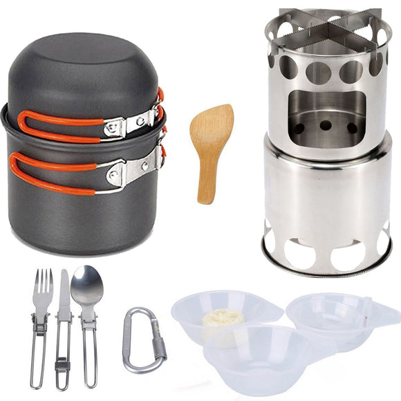 Fashion Hiking Camping Outdoor Camping Pot Outdoor Survival Cookers with Wood Stove