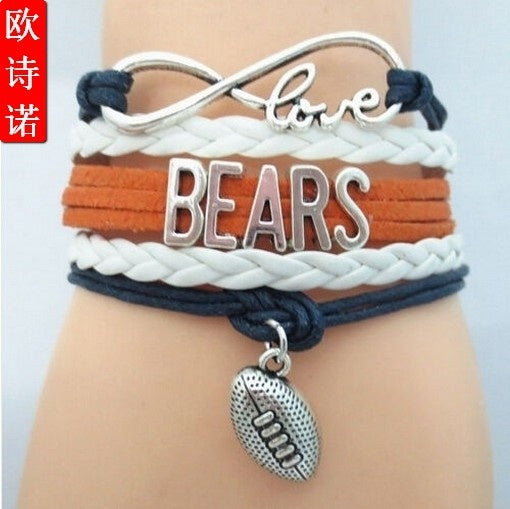 Chicago Bears Infinity Wristlet NFL American Football Sport Charms Bracelet
