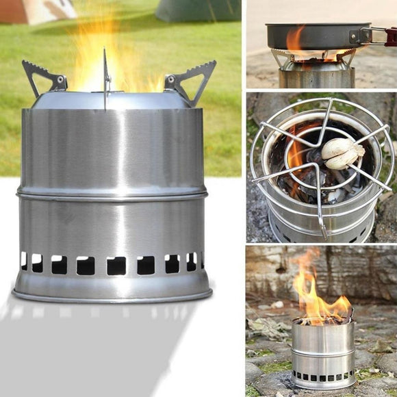 Portable Wood Stove Stainless Steel Solidified Alcohol Stove for Picnic Camping