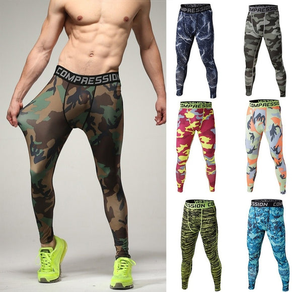 Men camouflage pants high elastic compression men's basketball training pants