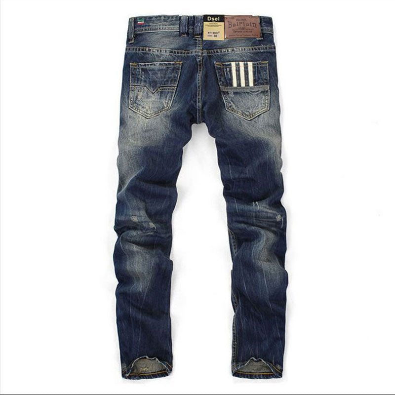 Men's designer dark blue jeans