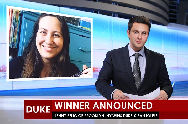 jenny selig wins the duke10 banjolele tv mockup
