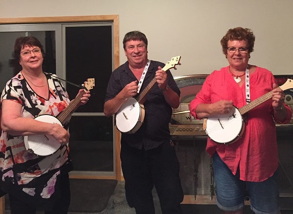 Sally, Ann and Dave with their DUKE10 banjoleles from Northland, New Zealand