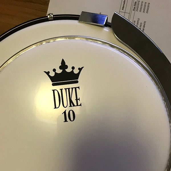 duke logo and crown screen printed on the drum head sample