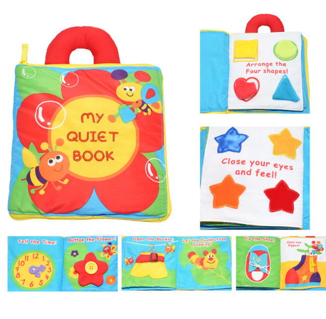 Multifunctional flower three-dimensional cloth book baby puzzle book, handle, color recognition, shape, dressing - Exceptional Gear