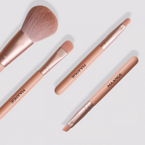 4 Piece Bamboo Makeup Brush Set