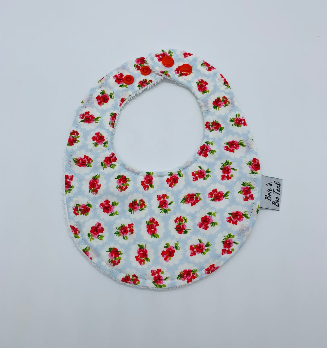 Baby Blue with Red Roses Newborn Bib