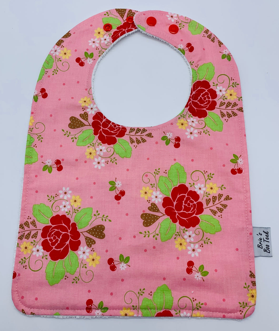 Pink with Red Roses Large Feeding/Dribble Bib