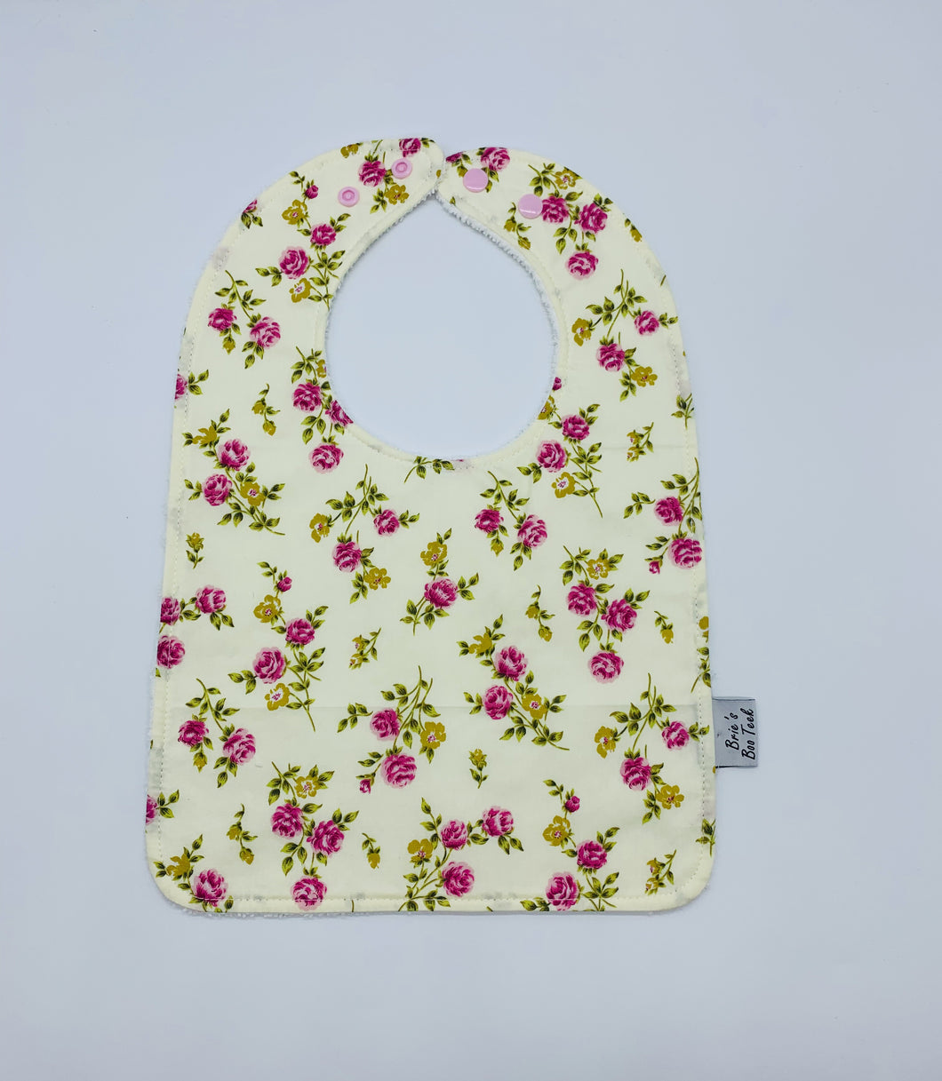 Yellow with Pink Flowers Large Feeding/Dribble Bib