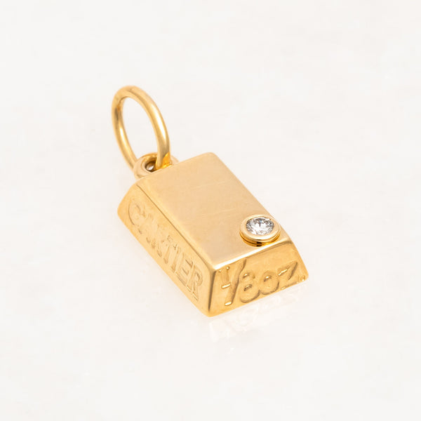 Cartier 1/8oz Diamond Bullion, 18K Yellow Gold, Vintage