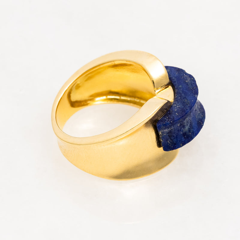 Cartier Italy Lapis Ring 18K Yellow Gold, circa 1970's, Vintage, Size 5.25