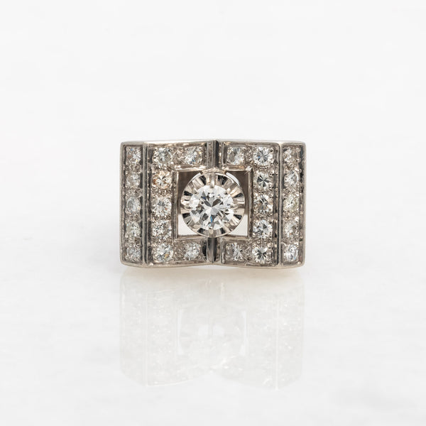 Diamond Art Deco Cocktail Ring Platinum, circa 1935, Vintage, Size 5.5