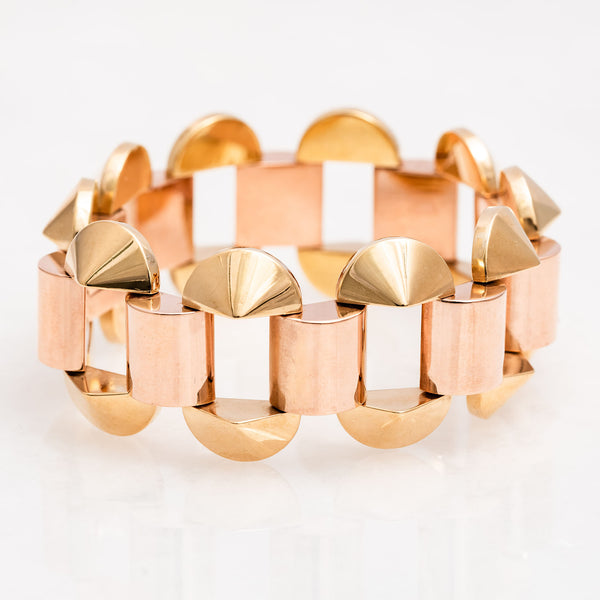 Half Moon Link Bracelet 18K Yellow Gold and 18K Rose Gold, Vintage