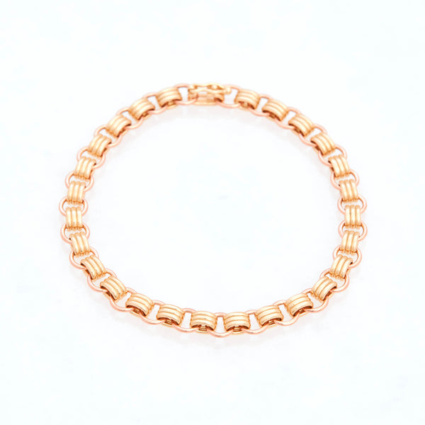 Triple Chain Bracelet 18K Yellow Gold and 18K Rose Gold, Small Link, 7.25""