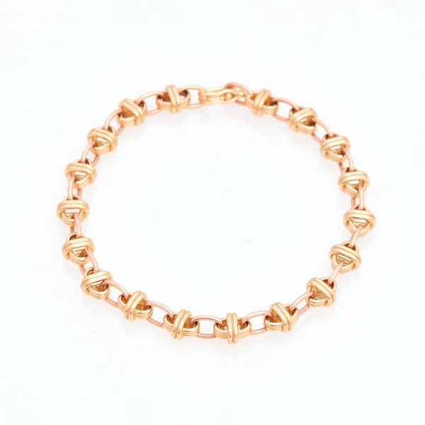 Oval Chain Bracelet 18K Yellow Gold and 18K Rose Gold, Small Link, 7.25""