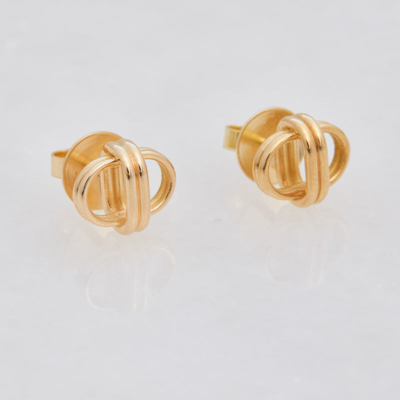 Oval Link Studs, 18K Yellow Gold, Medium