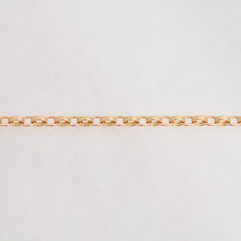 DOUBLE CHAIN NECKLACE 18K YELLOW GOLD, 18K ROSE GOLD, MEDIUM LINK, 16""