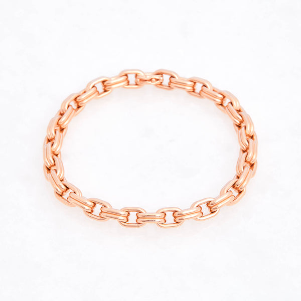 Double Box Chain Bracelet 18K Rose Gold, Medium Link, 7.25""