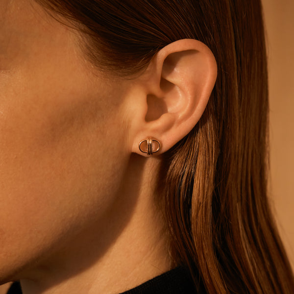 Oval Link Studs, 18K Rose Gold, Medium