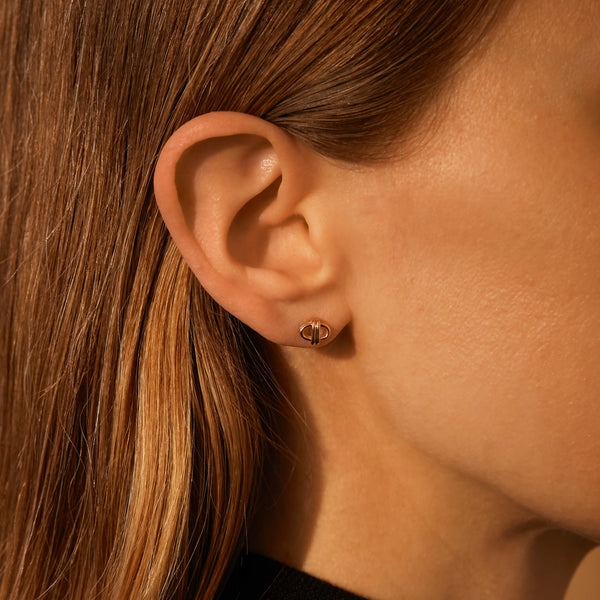Oval Link Studs, 18K Rose Gold, Small