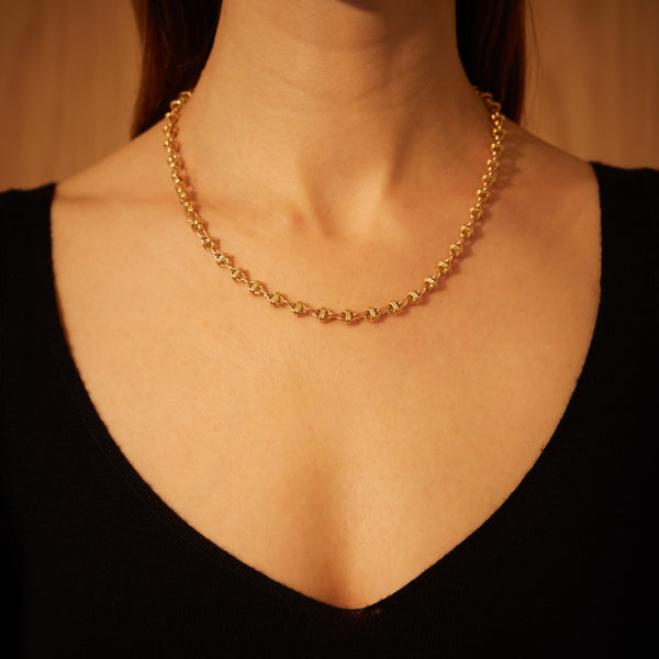 Oval Chain Necklace 18K Yellow Gold, Small Link, 22""