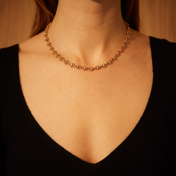OVAL CHAIN NECKLACE 18K YELLOW GOLD, 18K ROSE GOLD, SMALL LINK, 16""