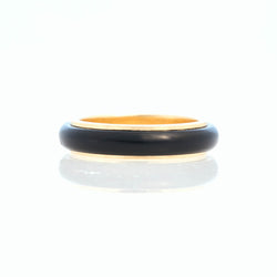 Black Jade Tubular Ring 18K Yellow Gold, Small