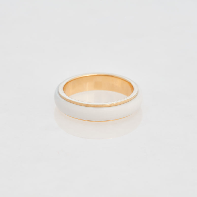 White Cacholong Tubular Ring 18K Yellow Gold, Small